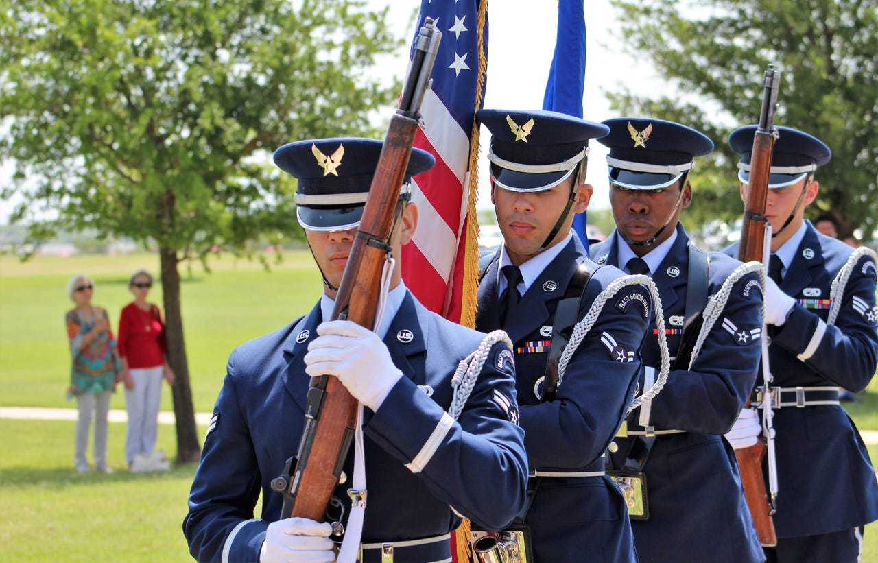 The colors depart Monday's Memorial Day ceremony at Texas State Veterans Cemetery at Abilene. May 27, 2019