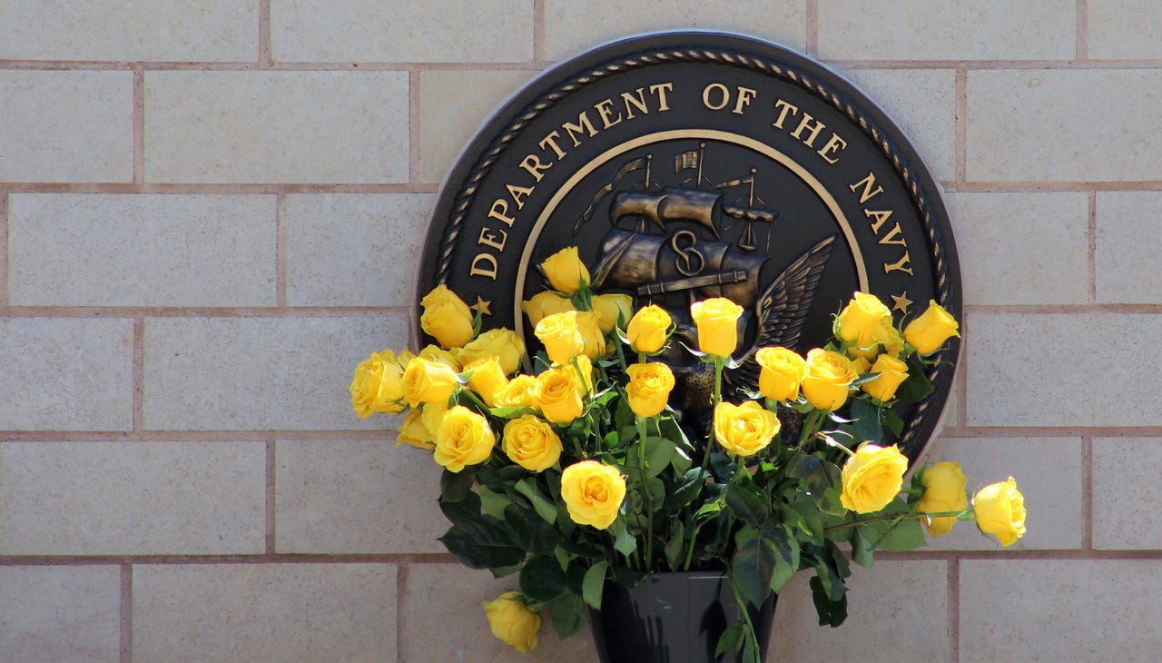 Yellow roses were placed by the Navy branch seal during Monday's Memorial Day ceremony at Texas State Veterans Cemetery at Abilene. Gold Star parents were invited to take one to place at a headstone. May 27, 2019