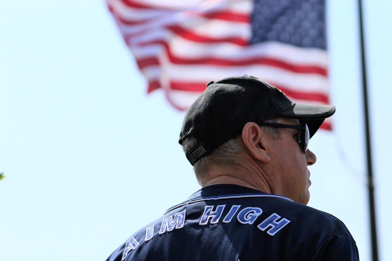 Philip Knowles, a retired B-1 crew chief who spent 20 of his 24 service years at Dyess Air Force Base, wore an Air Force baseball-style jersey to Monday's Memorial Day ceremony at Texas State Veterans Cemetery at Abilene. May 27, 2019