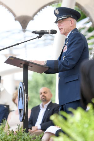 Major General Rick Devereaux, U.S. Air Force (ret.) gives a keynote presentation on the meaning of Memorial Day during the Asheville Buncombe Memorial Day ceremony at Pack Square Park on May 27, 2019.