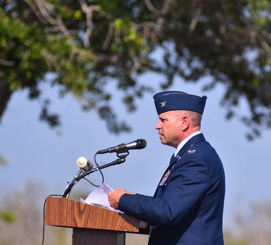 Col. Kurt Matthews, commander of the 920th Rescue Wing at Patrick Air Force Base, speaks during Monday's Memorial Day ceremony at the Brevard Veterans Memorial Center on Merritt Island.