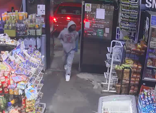 A suspected gunman emerges from a Valero convenience store on Sat., May 25, 2019, according to Detroit police.