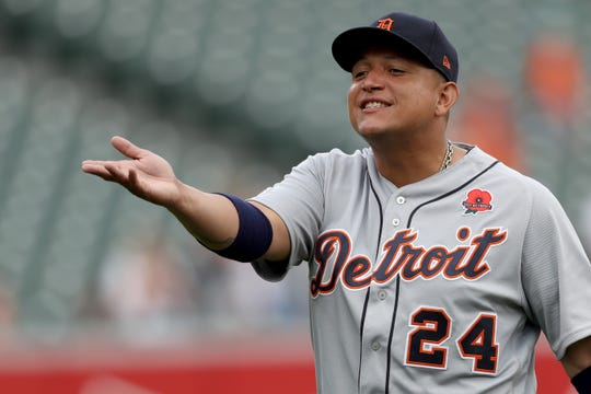 Tigers designated hitter Miguel Cabrera talks with fans before the start of the Tigers and Orioles game on Monday, May 27, 2019, in Baltimore.