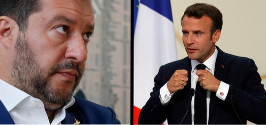 This combination photo shows Italian Interior Minister Matteo Salvini at a press conference at Stampa Estera (Foreign Press) in Milan, Italy, Friday, May 17, 2019, left, and French president Emmanuel Macron delivering a speech at the Elysee Palace, in Paris, Friday, May 24, 2019.