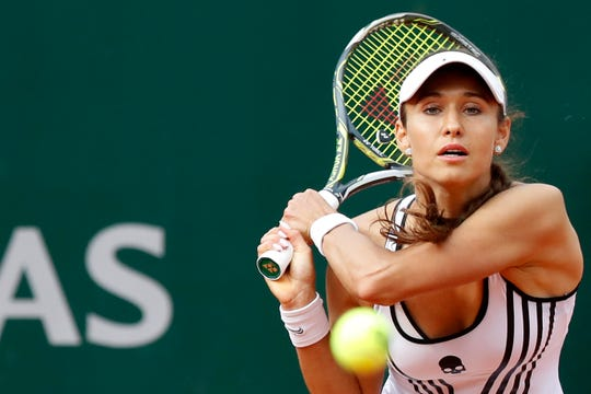 Vitalia Diatchenko of Russia plays a shot against Serena Williams on Monday at the French Open.