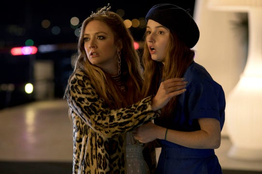 """This image released by Annapurna Pictures shows Billie Lourd, left, and Kaitlyn Dever in a scene from the film """"Booksmart,"""" directed by Olivia Wilde."""