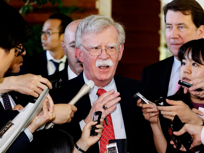 U.S. National Security Adviser John Bolton is surrounded by reporters at the prime minister's official residence in Tokyo, Japan. North Korea on Monday, May 27, 2019.