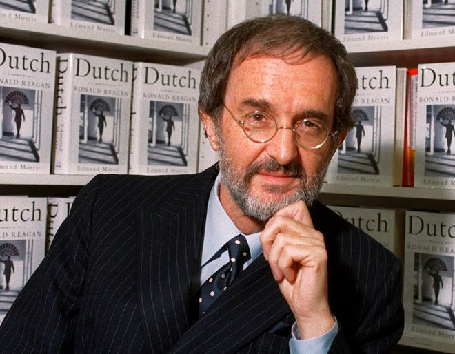"""In this Wednesday, Sept. 29, 1999, file photo, Edmund Morris, author of """"Dutch: A Memoir of Ronald Reagan,"""" poses at Random House in New York."""