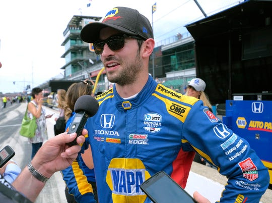 Alexander Rossi speaks with the media after his second-place finish in the Indianapolis 500.