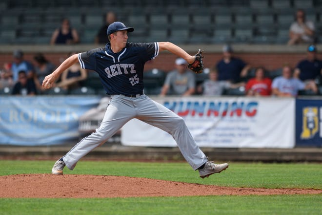 Reitz's Gehrig Tenhumberg (25) pitches during the second inning of the IHSAA Class 4A sectional championship against the Castle Knights at Bosse Field in Evansville, Ind., Monday, May 27, 2019. The Knights defeated the Panthers 14-2 in five innings to claim the sectional title.
