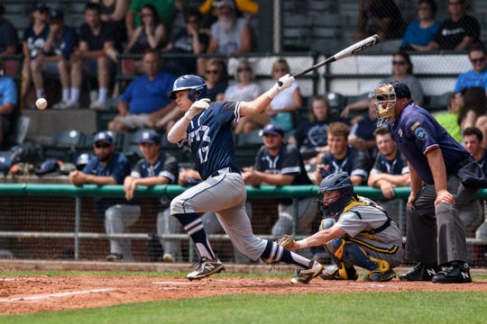 Reitz's Ryan Kassel (17) makes a hit during the IHSAA Class 4A sectional championship against the Castle Knights at Bosse Field in Evansville, Ind., Monday, May 27, 2019. The Knights defeated the Panthers 14-2 in five innings to claim the sectional title.