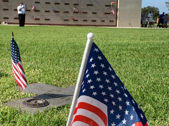 George Tice, second vice commander of Rabe O. Wilkison American Legion Post 38 in Fort  Myers, plays taps at the conclusion of a Memorial Day ceremony Monday at Fort Myers Memorial Gardens.
