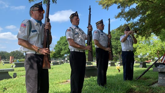 Four men, members of theVictor Paul TuchmanPost 400 Jewish War Veterans, honored Bob Kummins, a fellow member of the post who died in 2007, during Memorial Day ceremonies at Fort Myers Memorial Gardens Monday. From left , Post 400 members Herb Lutsky, Isaac Osin, Bob Ruberto and Harvey Charter.