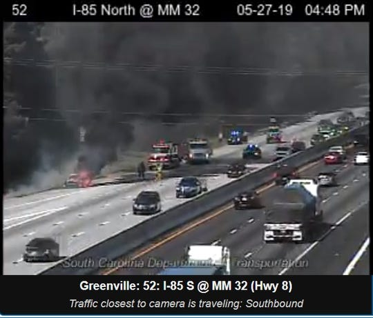 This image from the state Department of Transportation shows a car fire on Interstate 85.