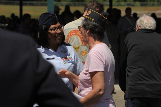 Major Terri L. Wright-Felder returned to the Richard M. Campbell Veterans Nursing Home, where she worked before becoming an officer in the U.S. Air Force and becoming the keynote speaker for the center's Memorial Day ceremony.