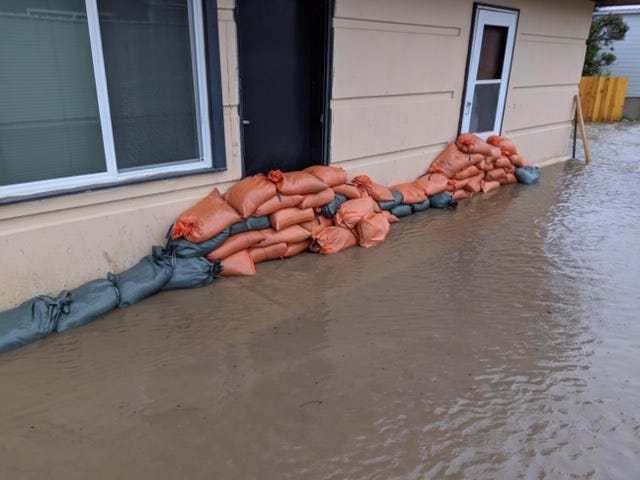 Sandbags at the Lewis and Clark County Sheriff's Office Substation in Augusta Sunday.