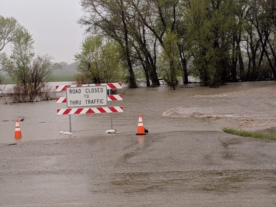 Lover's Lane west of Augusta was closed Sunday due to flooding.