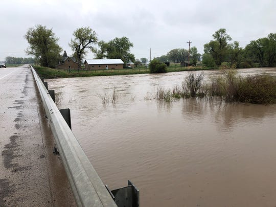 The Sun River at Simms was flowing at 9.01 feet Monday. Flood stage is 7.5 feet.
