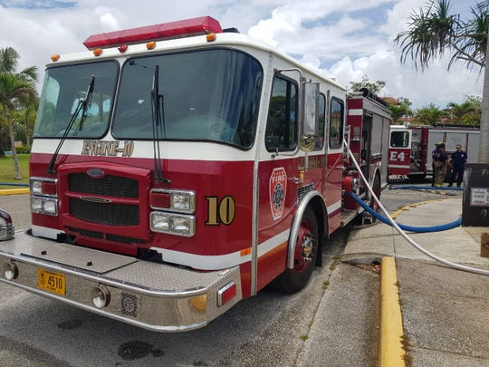 GFD responds to a fire reported at a Perez Acres home Monday morning. The occupants were not home at the time and there were no injuries to responders.