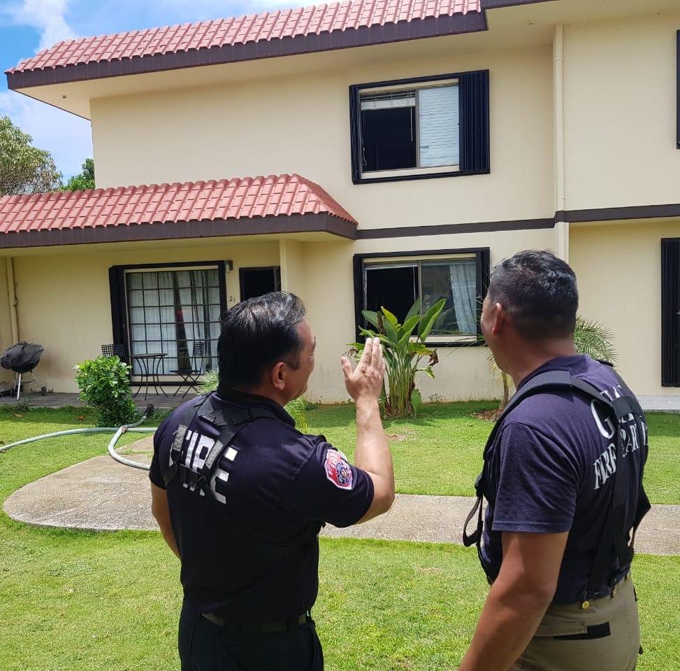 Guam Fire Department extinguishes a fire in Perez Acres, Yigo Monday morning