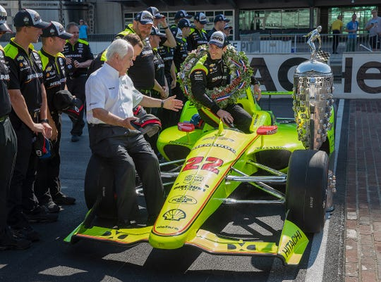 Simon Pagenaud, winner of the 103rd Indianapolis 500, will race for Roger Penske again next season, despite offers from other teams. Pagenaud spoke with Penske during the winner's photo shoot on May 27, 2019.