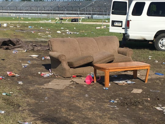 A couch left behind at the Indianapolis Motor Speedway after the running of the Indianapolis 500.