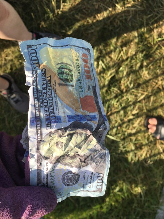A counterfeit $100 bill found by members of the cleanup crew the day after the Indianapolis 500.