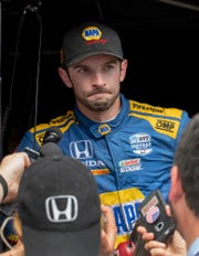Alexander Rossi (27) of Andretti Autosport searches for the words to answer reporters questions after finishing second in the 103rd Running of the Indy 500 at the Indianapolis Motor Speedway Museum Sunday afternoon. 5/23/19