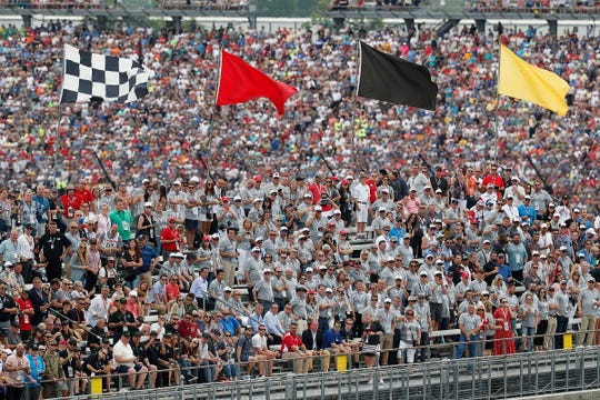 IndyCar fans watch for the start of the Indianapolis 500 at Indianapolis Motor Speedway on Sunday, May 26, 2019.