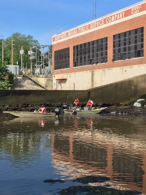 Rescue teams from the Indiana Department of Natural Resources search on the Tippecanoe River for a kayaker who went missing near Norway Dam Monday, May 27, 2019.