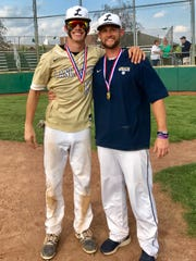 Lancaster baseball coach Corey Conn, who was selected as the Ohio Capital Conference-Ohio Division and Central District Division I Coach of the Year, stands next to junior Casey Finck, who was chosen as the OCC-Ohio Division Player of the Year for the second straight season. The Golden Gales will play Hilliard Darby in a regional semifinal at 5 p.m. Thursday at Dublin Coffman.