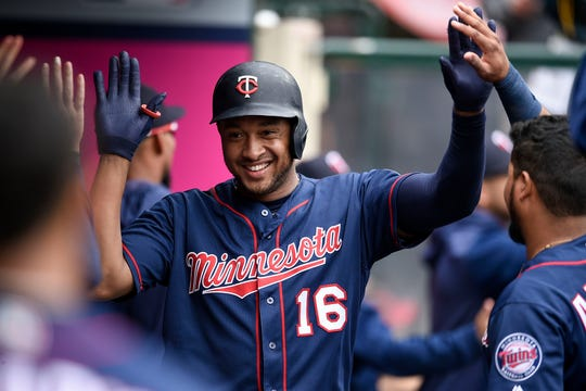 Twins second baseman Jonathan Schoop celebrates in the dugout after hitting a three-run home run last week against the Los Angeles Angels. Schoop enters Monday night's game with the Brewers with 10 home runs on the season.