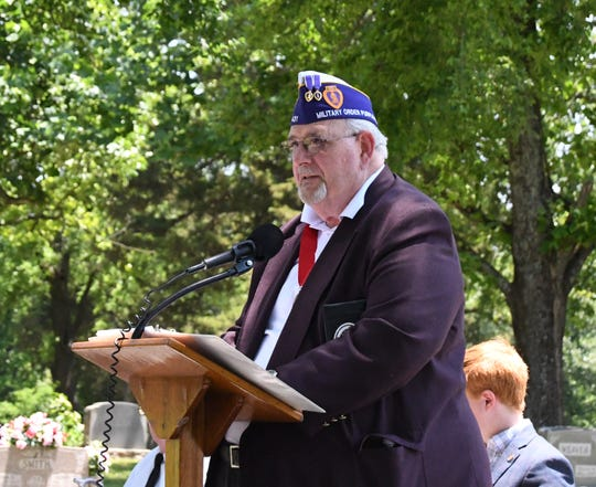 Mark Diggs, who was awarded a Bronze Star for his actions in the Vietnam War, was the guest speaker at the Memorial Day ceremony in Cotter on Monday. Diggs was honorably discharged from the U.S. Army in 1973 as a first lieutenant.