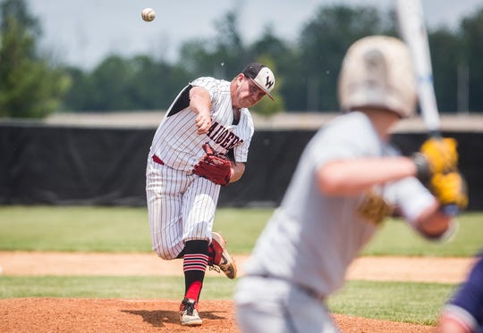 FILE -- Wapahani pitcher Brevan Rivers shut out Wabash in their regional semifinal matchup. The Raiders advanced to the regional final.