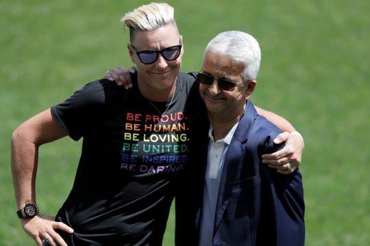 Former United States women's national team player Abby Wambach, left, hugs Sunil Gulati, the former President of the United States Soccer Federation, during a celebration honoring the 2019 National Soccer Hall of Fame Class of 2019 at halftime of an international friendly soccer match between the Unites States and the Mexico, Sunday, May 26, 2019, in Harrison.