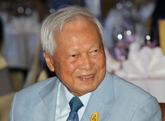 FILE - In this Nov. 11, 2014 file photo, former Prime Minister Prem Tinsulanonda attends a charity function in Bangkok, Thailand. Prem Tinsulanonda, one of Thailand's most influential political figures over four decades who served as army commander, prime minister and adviser to the royal palace, has died at age 98. Thai media reported he died Sunday morning, May 26, 2019, in a Bangkok hospital, and an official announcement is expected.