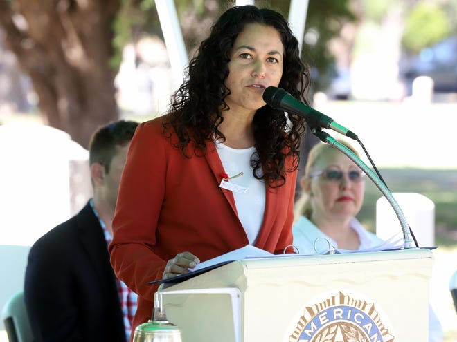 U.S. Rep. Xochitl Torres Small, D-NM, addresses a Memorial Day ceremony in Deming, New Mexico on May 27, 2019.