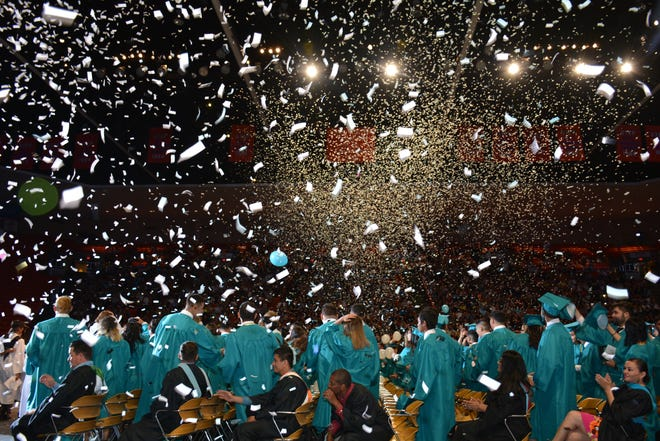 Santa Teresa's commencement ceremonies Sunday, May 26, 2019, at the Don Haskins Center in El Paso ended for the Tribe of 2019 in spectacular and colorful fashion as confetti showered the graduates as they celebrated the turning of tassel and becoming official graduates