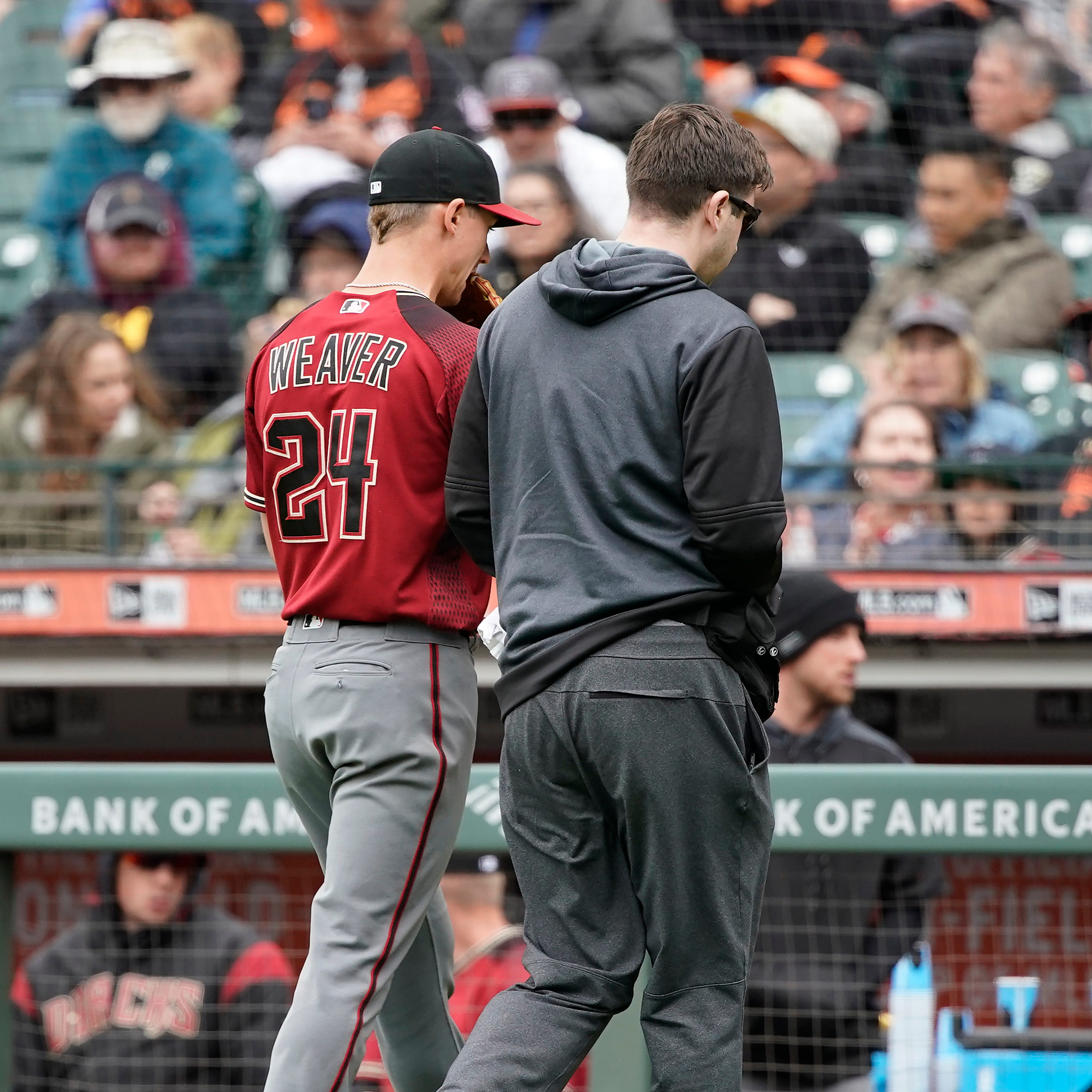 Diamondbacks sweep Giants, but Luke Weaver leaves start with right forearm tightness