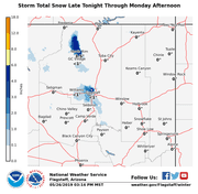 A snowstorm will create icy road conditions starting Sunday night and continuing on Monday. Anyone driving near Flagstaff or the Grand Canyon is advised to use caution.