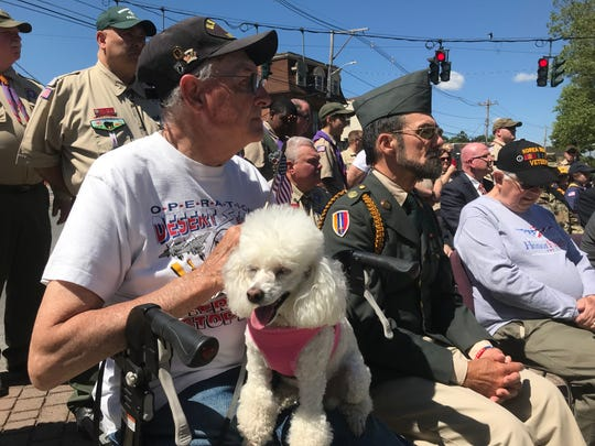 Veterans an onlookers attended a ceremony at the Dutchess County War Memorial in Poughkeepsie last Memorial Day.