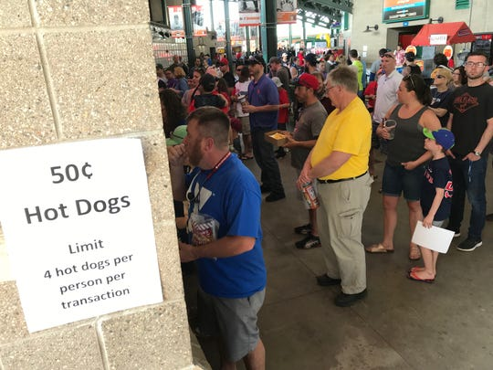 The lines were long for 50-cent hot dogs at the Rochester Red Wings game at Frontier Field on May 27, 2019.