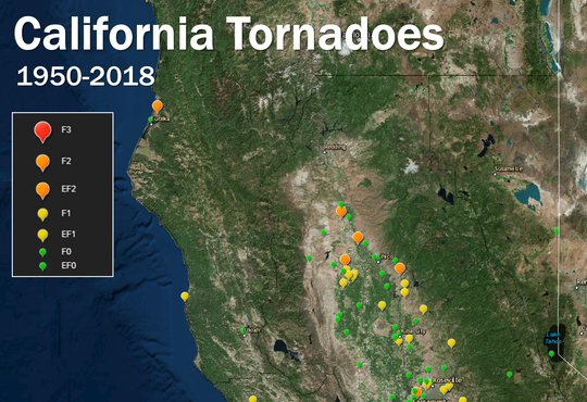 This National Weather Service map shows were tornadoes have occurred in Northern California from 1950 to 2018.