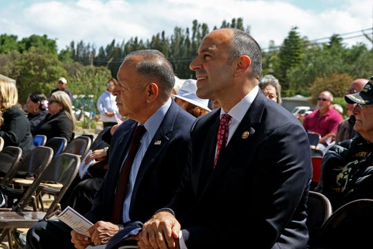 In this file photo, veterans Tony Virrueta and Jimmy Panetta attend a Memorial Day ceremony in Soledad, Calif. May 27, 2019.