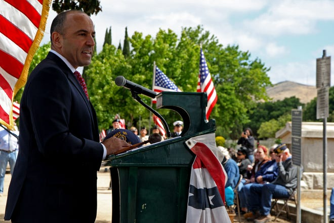 Congressman Jimmy Panetta speaks to the crowd Monday. May 27, 2019.
