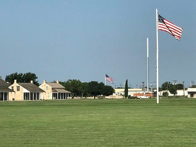 American Flags fly over Fort Concho National Historic Landmark, 630 S. Oakes St., Monday, May 27, 2019.