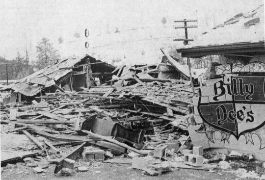 Aftermath of explosion at Billy Dee's Restaurant, Feb. 3, 1975.