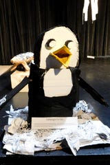 Sheri Nilles' art students used recycled materials to create sculptures of endangered animals.