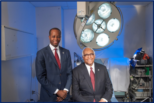 Howard University President Dr. Wayne A.I. Frederick, M.D., left, with Dr. LaSalle D. Leffall Jr., right.