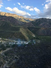 A Ventura County helicopter crew helped fight the roughly 30-acre Oak Flat Fire in the Sespe Wilderness Saturday.
